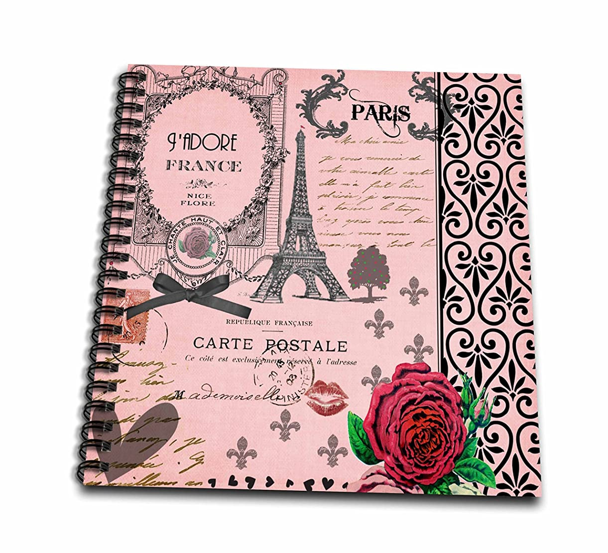 3dRose db_76593_1 Stylish Vintage Pink Paris Collage Art Eiffel Tower Red Rose Girly Gothic Black Bow and Swirls Drawing Book, 8 by 8-Inch xqzvo0544