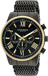 Akribos XXIV AK919 Men's Swiss Quartz Multi-Function with Silver-Tone Case with Black Sunray Dial on a Shark Mesh Stainless Steel Bracelet Watch