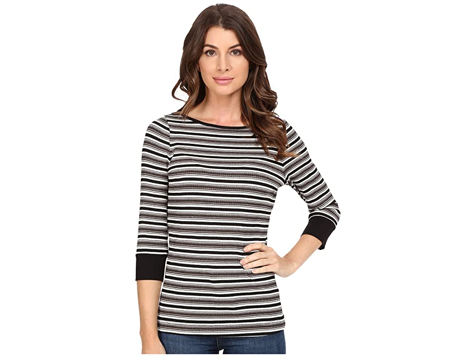 Three Dots Melinda 3/4 Sleeve British Tee (Multi) Women