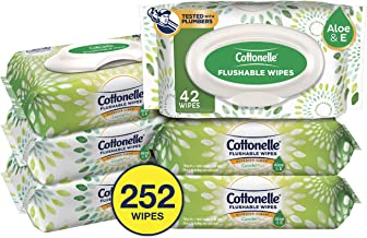 Cottonelle GentlePlus Flushable Wet Wipes with Aloe & Vitamin E, 6 Packs, 42 Wipes per Pack (252 Wipes Total)