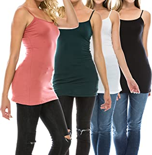 Multi Pack Womens Basic Long Length Adjustable Spaghetti Strap Cami Tank Top Camisole Plus (S to 3XL)