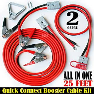 3 pcs- 2 Gauge 25 ft Quick Disconnect Jumper-Booster Cable Set,Tow-Service