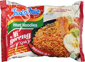 Indomie Mi Goreng Instant Stir Fry Noodles, Halal Certified, Hot & Spicy / Pedas Flavor, 3 oz, Pack of 10 - SET OF 2