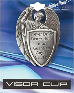 Dicksons Male Guardian Angel Silver Tone 2.5 Inch Zinc Alloy Metal Auto Visor Clip