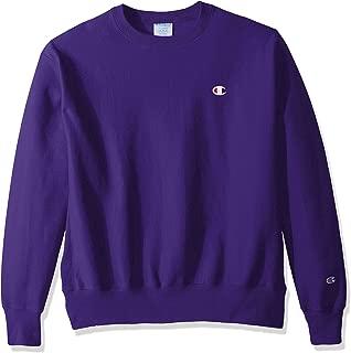 Champion LIFE Men's Reverse Weave Sweatshirt,Purple/Left Chest C Logo,Large