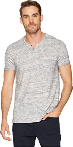 Short Sleeve Streak Heather Slit Neck Tee with Pocket