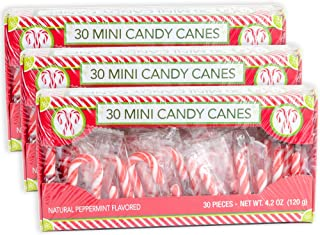 Candy Cane Peppermint Flavored | 30 Mini Candy Canes in Each Box - Net 4.2 Oz Pack of 3 - 90 Total Count | Individually Wrapped | Great For Snaking In Drinks Dessert Christmas Tree & Holiday Decor