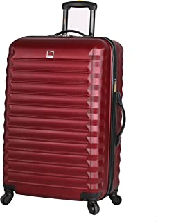 ABS Large Hard Case 28 inch Checked Suitcase With Spinner Wheels (28in, Burgundy)