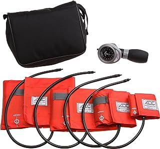 American Diagnostic 732-OR Multikuf 732 4-Cuff EMT Kit con 804 portátil Palm Aneroid Sphygmomanometer, Niño, Brazos de presión arterial (13-50 cm), Negro Nylon Zip Storage Case, Naranja