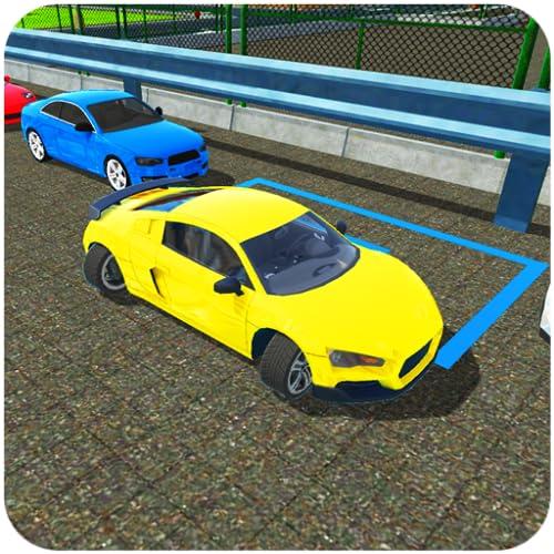 Simulador moderno de estacionamiento de automóviles en la ciudad con 4 ruedas:...