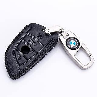 QZS BMW Genuine Leather Smart Key Keyless Remote Entry Fob Case Cover with Leather Key Chain for BMW 1 2 5 7 M Series X1 X4 X5 X6 (BMW-1 Black)