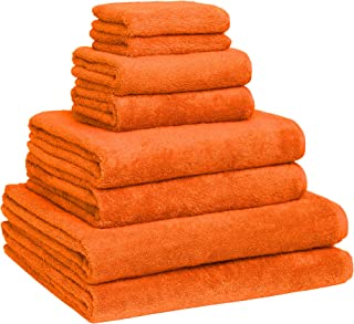 Luxury Extra Large 8-Piece Turkish Towel Set with 4 Bath Towels (30x60 and 24X48) - Orange