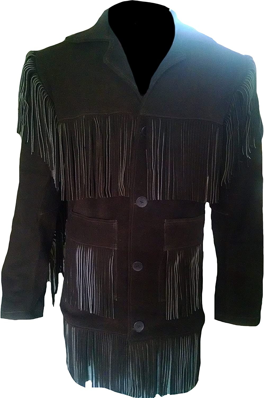 Classyak Men's Western Cowboy Suede Leather Fringed Coat