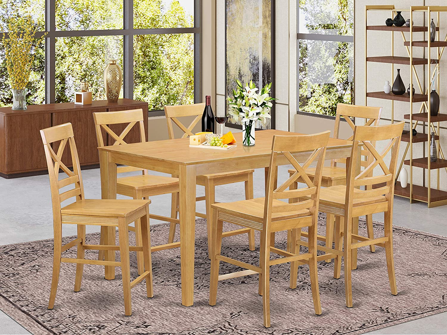 9 PC counter height Table and chair set   Table and 9 high Chairs.
