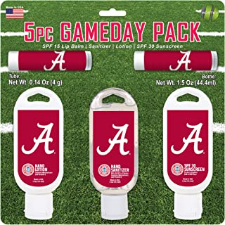 Worthy Promo NCAA Alabama Crimson Tide 5-Piece Game Day Pack with 2 Lip Balms, 1 Hand Lotion, 1 Hand Sanitizer, 1 SPF 30 Sport Sunscreen