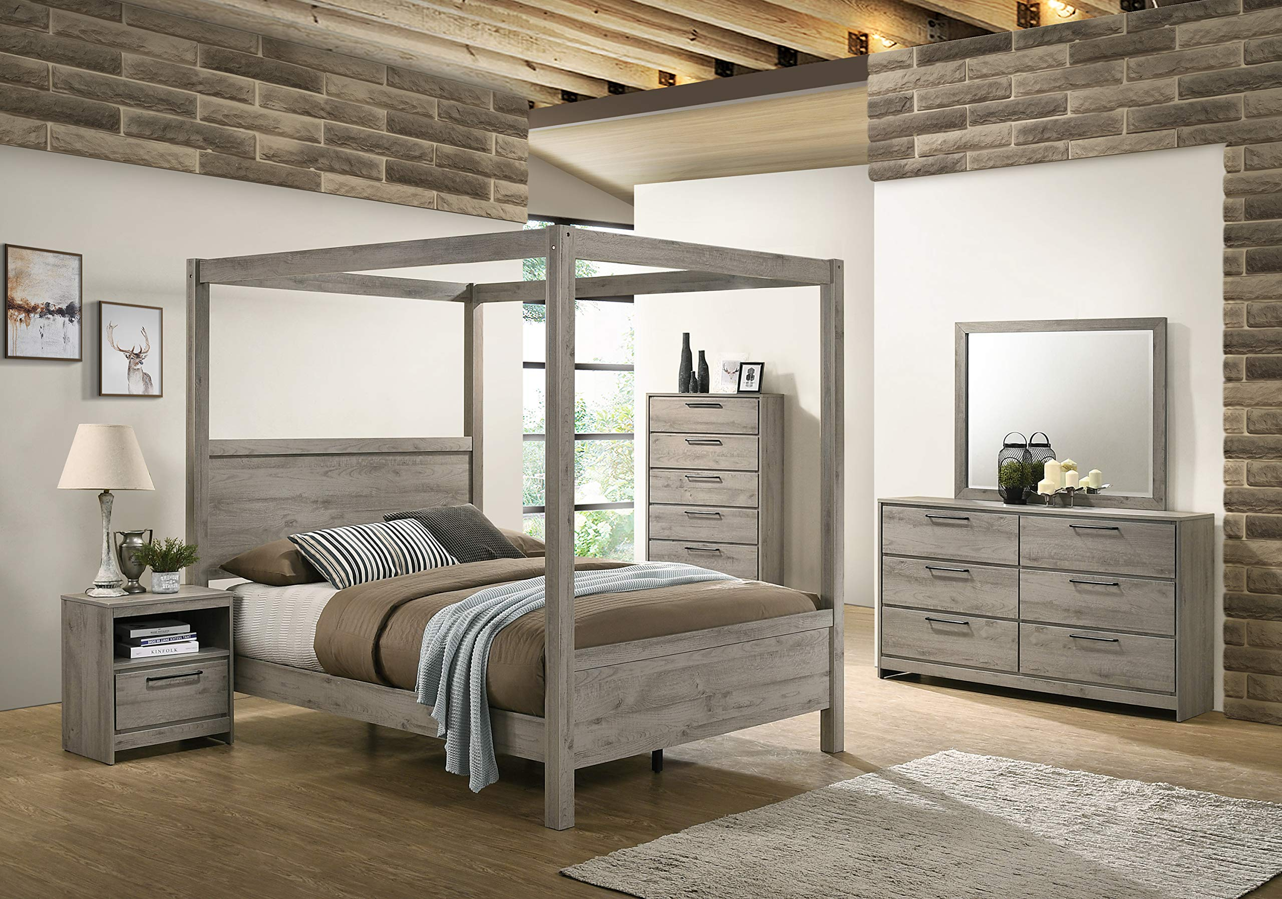 Kings Brand Furniture Harley 6 Piece King Size Bedroom Set Light Grey Bed Dresser Mirror Chest 2 Night Stands Buy Online In Gambia At Gambia Desertcart Com Productid 154910674