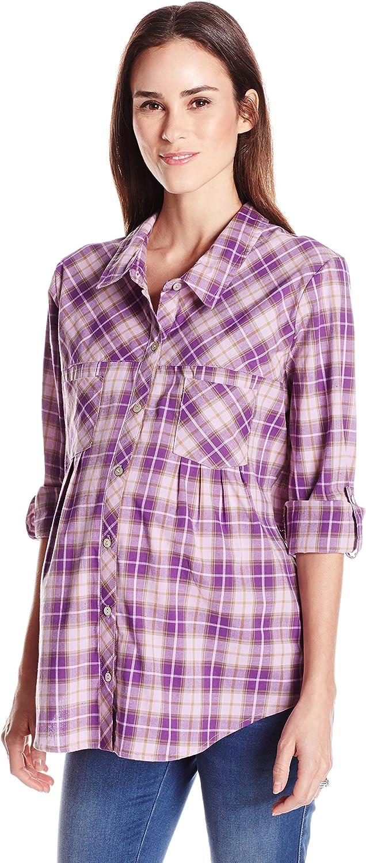 Everly Grey Womens Batina Long Sleeve Button Up Collared Maternitytop Nursing Dress