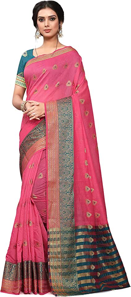 Indian Leeza Store Women's Cotton Blend Zari Butta Motifs Saree With Blouse Piece Saree