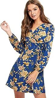Milumia Women's Long Sleeve Vintage Floral Print Boho Split Wrap Slim Dress