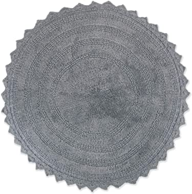 DII Reversable Ultra Soft Crochet Bath Mat, Round, Gray