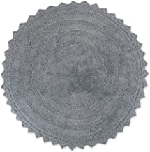 "DII 100% Cotton Crochet Round Luxury Spa Soft Bath Rug, for Bathroom Floor, Tub, Shower, Vanity, and Dorm Room, 28"" - Gray"