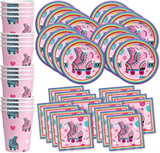 Roller Skating Birthday Party Supplies Set Plates Napkins Cups Tableware Kit for 16