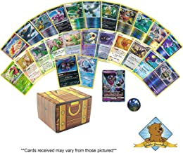 25 Pokemon Cards All Holo and Foils with One Guaranteed GX Ultra Rare Card Plus 1 Collectible Pokemon Coin! Includes Golden Groundhog Treasure Chest Box!