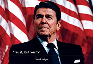 WeSellPhotos Ronald Reagan Poster Photo Picture Framed Quote Trust, but Verify US President Portrait Famous Inspirational Quotes Motivational Posters (13x19 Unframed Poster)