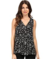 Vince Camuto - Sleeveless V-Neck Lace Provincial Drape Front Blouse