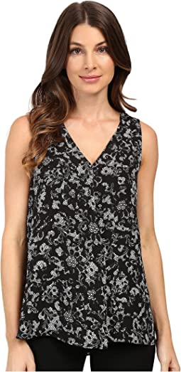 Sleeveless V-Neck Lace Provincial Drape Front Blouse