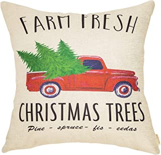 Fahrendom Rustic Farmhouse Style Farm Fresh Christmas Trees Vintage Red Truck Winter Holiday Sign Cotton Linen Home Decorative Throw Pillow Case Cushion Cover with Words for Sofa Couch 18 x 18 in