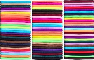 eBoot 100 Packs 4 mm Thickness Hair Elastics Hair Ties Hair Bands Bulk Ponytail Holders (Multi-color)
