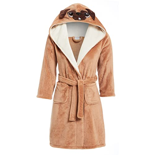 Slumber Hut® Pug Dog Fleece Dressing Gown Girls Boys Luxury Flannel Hood Brown Novelty Childrens