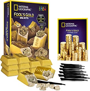 NATIONAL GEOGRAPHIC Fool'S Dig Kit – 12 Gold bar Dig Bricks with 2-3 Pyrite Specimens Inside, Party Activity with 12 Excavation Tool Sets, Great Stem Toy for Boys & Girls Or Party Favors
