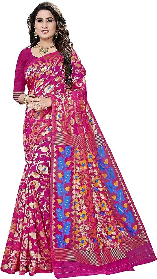 Indian SJ Trendz Women's Jamdani Cotton Blend Saree with Blouse Piece Saree