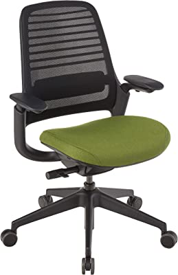 Steelcase Series 1 Office Chair, Carpet Casters, Licorice/Ivy
