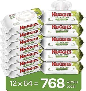 HUGGIES دستمال مرطوب بچه بی تاب ، مراقبت حساس ، مبتنی بر آب ، 12 بسته کامل تلنگر ، 768 تعداد