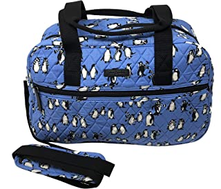 Vera Bradley Compact Traveler Bag in Playful Penguins Blue