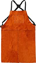 LEASEEK Leather Welding Work Apron - Heat Resistant & Flame Resistant Bib Apron, Flame Retardant Heavy Duty BBQ Apron, Adjustable One Size Fit Most - 24