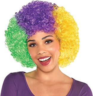 Amscan Mardi Gras Afro Wig, Carnival Party Costume Accessories, One Size, Synthetic Fibers
