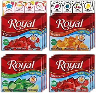 Royal Gelatin Sugar Free Variety Pack of 12 | 3 Box Each - Strawberry, Lime, Orange and Cherry | Make Low Carb Fat Free Ge...