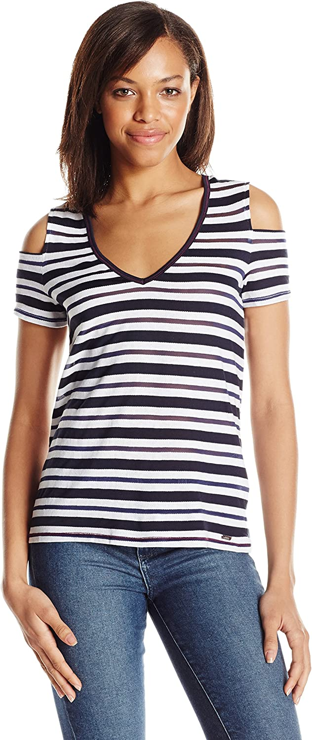 A X Armani Exchange Womens Cold Shoulder colorblock Stripe V Neck Tee Blouse
