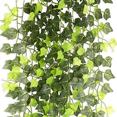 PARTY JOY 12pcs 100 Leaves Fake Ivy Leaves Fake Vines Artificial Ivy, Silk Ivy Garland Greenery Artificial Hanging Plants for