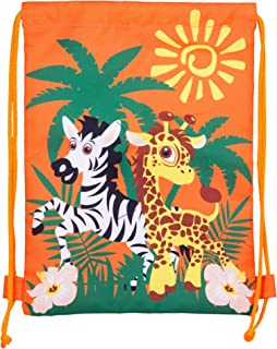 Jungle, Safari, Zebra, Giraffe and Zoo Polyester Durable Drawstring Goodie Bag for Toddlers and Kids, Pack of 10