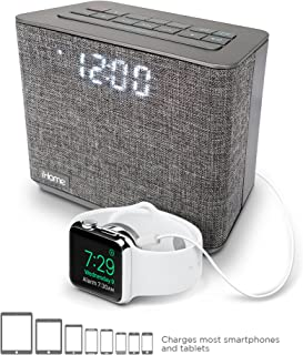iHome iBT232 Bluetooth Dual Alarm Clock FM Radio with Speakerphone and USB Charging -Gray..