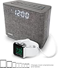 iHome iBT232 Bluetooth Dual Alarm Clock FM Radio with Speakerphone and USB Charging -Gray..