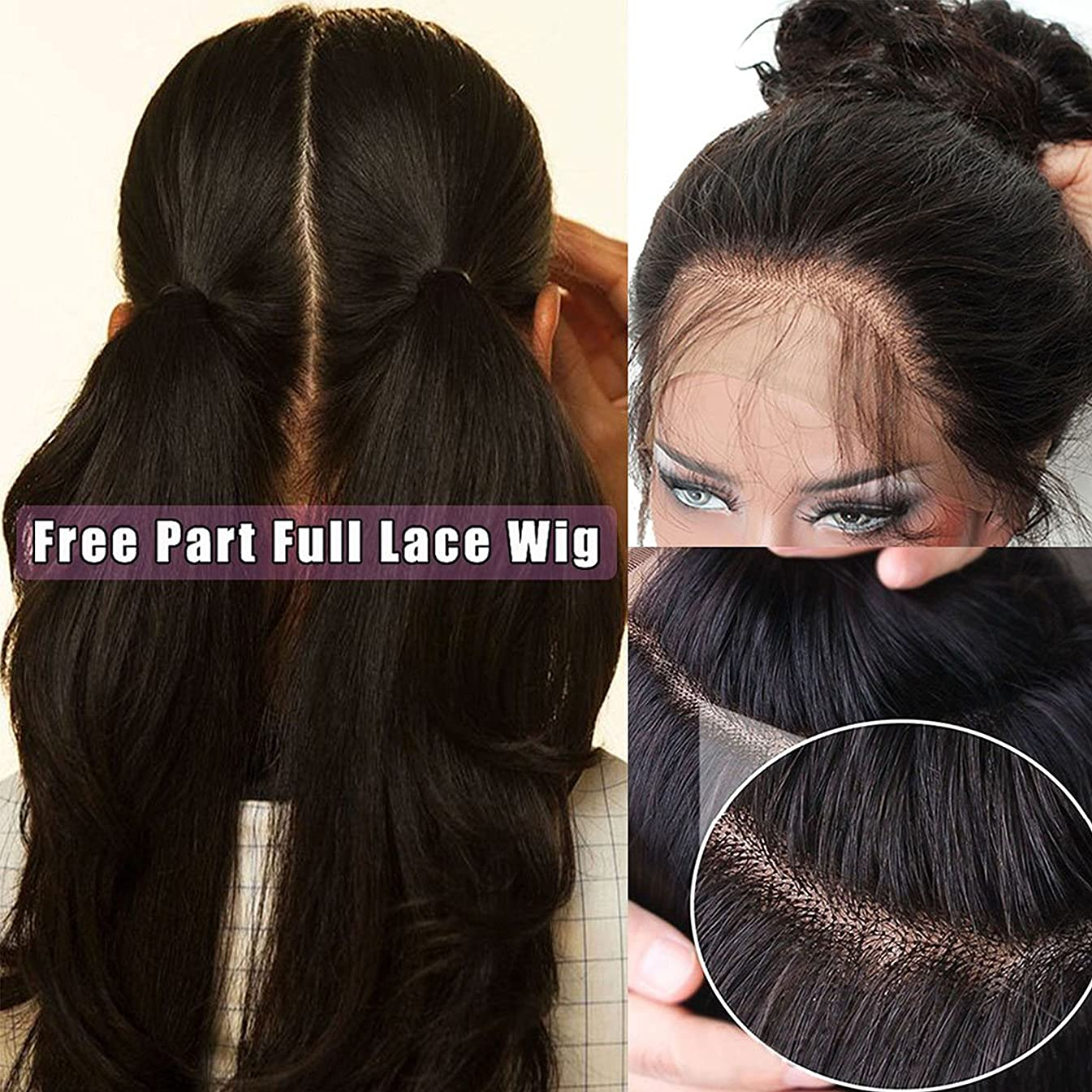 Pre Plucked Full Lace Human Hair Wigs for Black Women Straight Glueless Lace Front Wigs with Baby Hair (20 inch full lace wig 130 density)