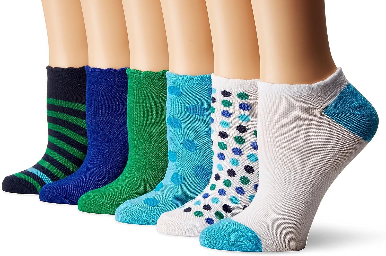 No Nonsense Women's No Show Scalloped Edge Liner Sock 6-Pack