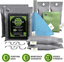 Nook & Fork Pure Bamboo Charcoal Air Purifying Bag – 8 Activated Breathe Green Charcoal Bags for Home, Car, Pets to Eliminate Odors (Green)