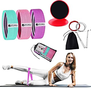 Resistance Exercise Booty Bands & Core Gliders & Jump Rope Set, Ab Floor Slider Discs w/ Double Side, Fitness Hip Circle B...